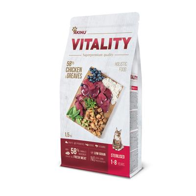 Akinu VITALITY cat sterilised chicken & Greaves 1,5kg